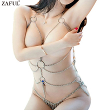 ZAFUL Enticing Women's Sexy Lingerie Chain Set Exotic Woman Breast Bra Bondage Costumes Metal Chain(China)