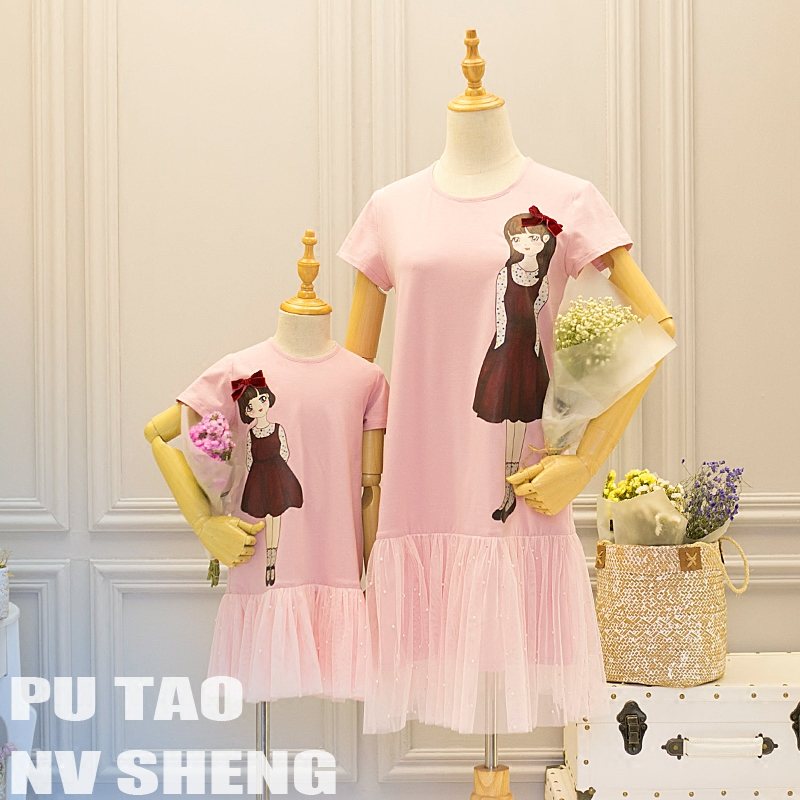 Summer New Matching women Dress 4XL Mother daughter Fashion mom girls little sister infant kids children dress baby girl clothes summer children clothing family clothes kids infant girls women opulent rose print dress matching mother daughter fashion dress