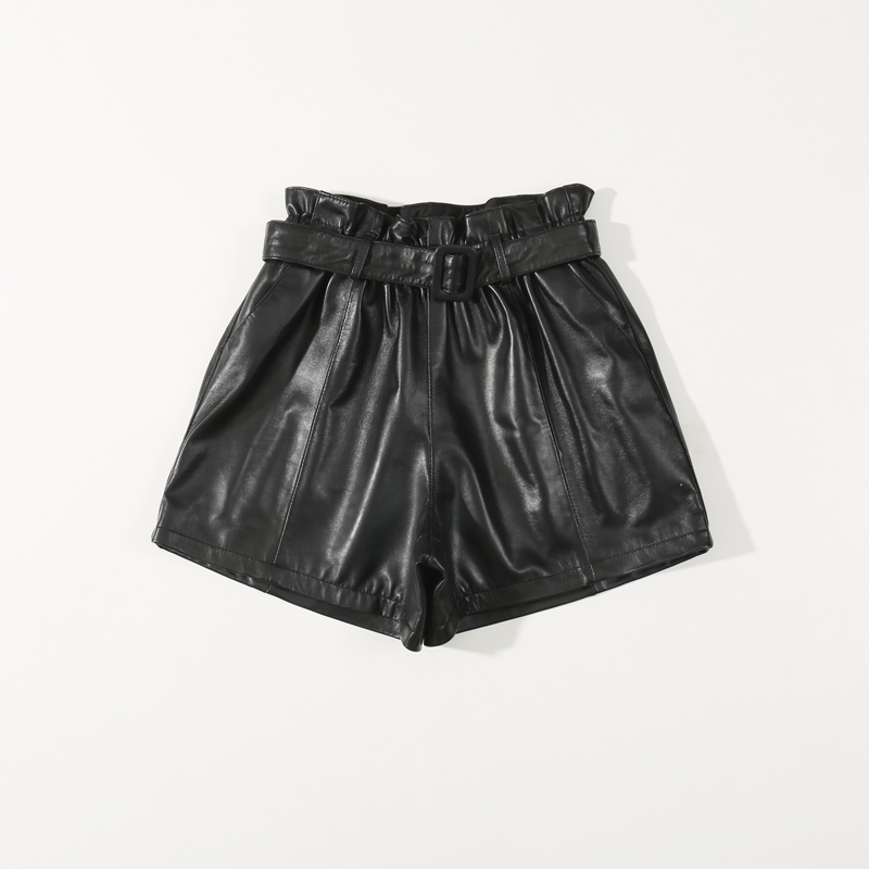 2019 Spring New High Waist Black Leather Pant Korean Version of The Thin Wide Leg Pants High Waist Shorts  Shorts Women