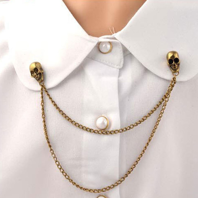 skull Fan snowflake VINTAGE BROOCH mens lapel pin jewelry gift for