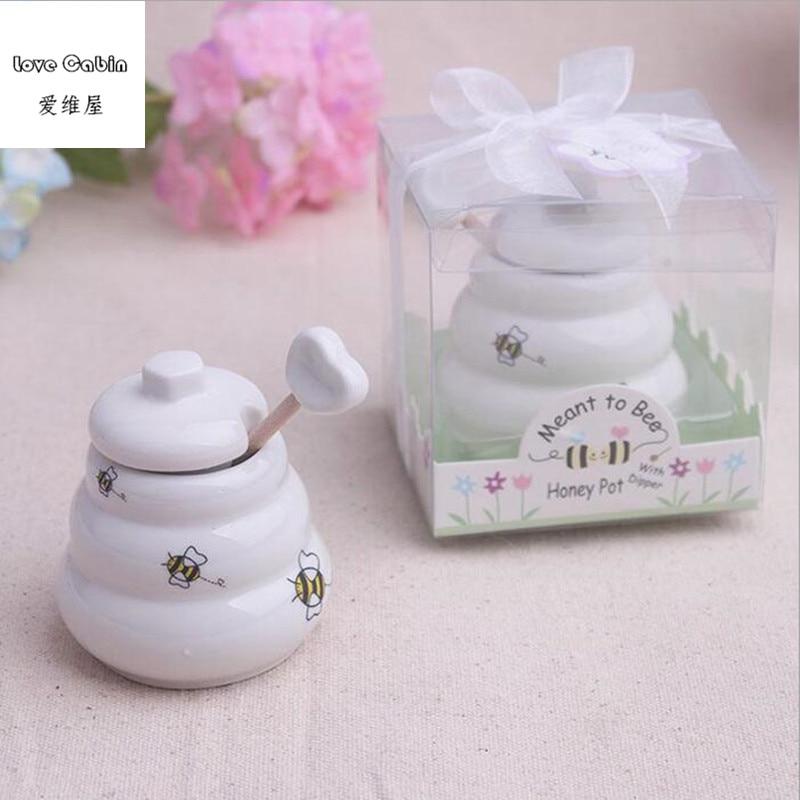 Image 3 - Предназначенный для пчелы керамический горшок для меда 10 шт./лот  свадебный душ для подаркаgift favorgift giftsgift pot