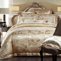 4/6pcs Gold Jacquard Satin bedding set king queen Luxury Tribute Silk quilt/duvet cover bed linen bedclothes set home textile