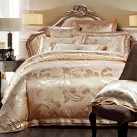 4/6pcs Gold Jacquard Satin bedding set king queen Luxury Tribute Silk quilt/duvet cover bed linen bedclothes set home textile
