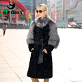 JEPLUDA New Winter Women's Real Lamb Fur Coat Collar and Sleeve with Silver Fox Fur Coats Winter Jackets Women Real Fur Coat