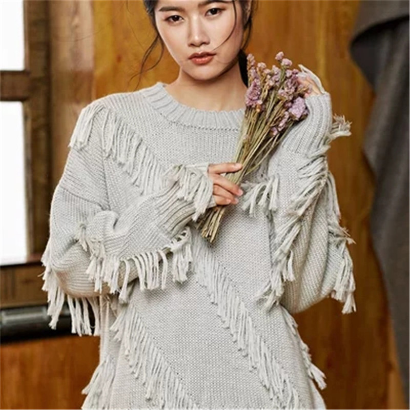 100% Hand Made Pure Wool Oneck Knit Women Fashion Tassel Solid Loose Pullover Sweater White 4color Customized