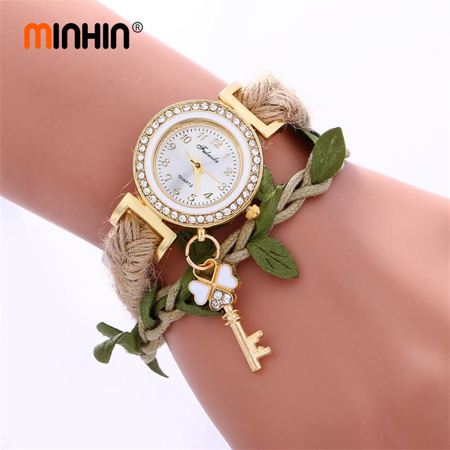 MINHIN Bohemia Women Creative Watches Leaves Design Braided Wrist Bracelet Watch