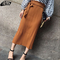 Army Green Khaki Black Pencil Skirt Bandage Bodycon Skirts Womens Autumn Winter Tight Sexy Long Skirt Female Two Wear Skirts