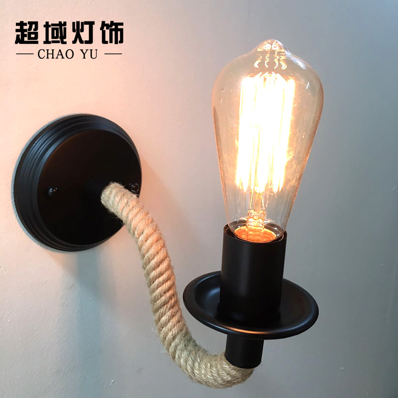 Nordic Industrial Retro Loft LED Hemp Rope Wall Lamp Metal Indoor Lighting Home Fixtures Sconce Light for Aisle Bedroom Bedside