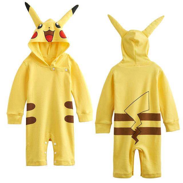 Nouveau-né Bébé Filles Garçons Pikachu Costume Barboteuse Infantile Outfit Mignon Salopette 0-24 Mois