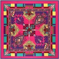 Twill Silk Euro Brand Fashion Paris Color Matching Assort Flowers Print 130cm*130cm Silk Square Scarf Femal Shawls Hijab