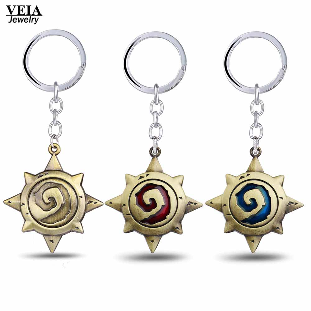 3 Colors Hot Game Hearthstone Keychain Vintage Alloy Pendant Keyring Heroes Of Warcraft Logo Keychain Keyring Holder Chaveiro