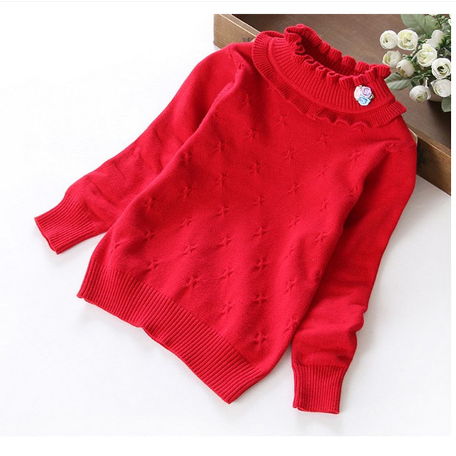 2T to 6T children girls 7-color ruffle collar knitted pullover sweaters kids  fashion cotton 5d0e16721