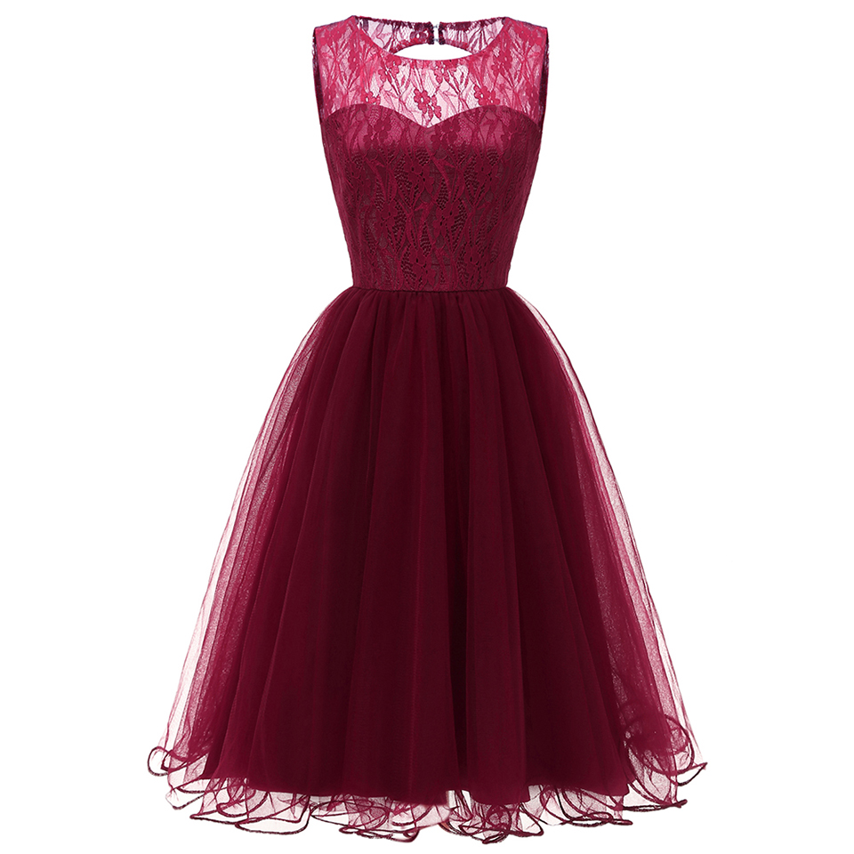 Dressv Burgundy Cocktail Dress Cheap Scoop Neck Sleeveless A Line Graduation Party Dress Elegant Fashion Cocktail Dress
