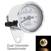 Universal Motorcycle Speedometer Odometer  Dual Speed Meter with LED yellow Light indicator