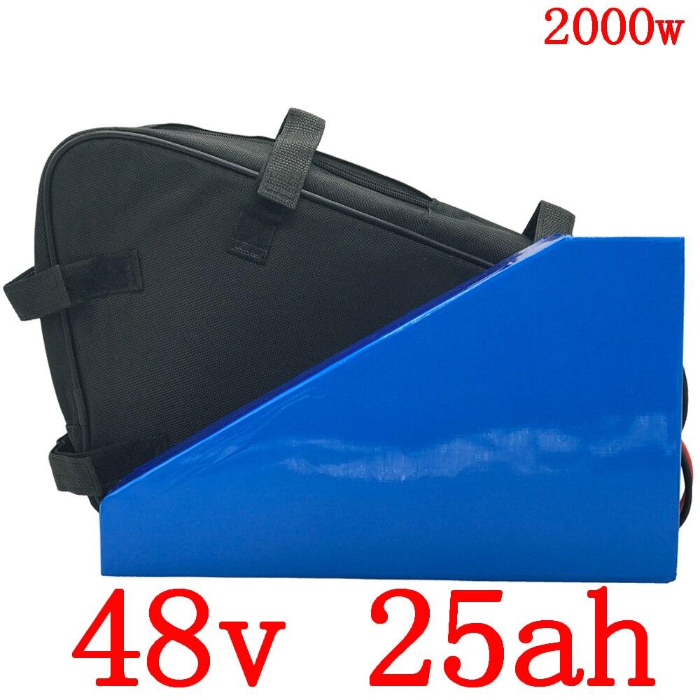 Batterie Triangle 48V 2000w batterie Lithium ion 48v 25ah batterie vélo électrique 48v 25ah avec chargeur 50A BMS + 54.6V + sac
