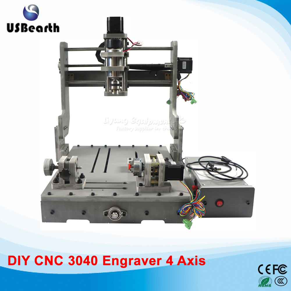 DIY 3040 rotary axis  cnc router 300w cnc spindle cnc machine for wood drilling pcb milling cnc 5 axis a aixs rotary axis plate type disc type for cnc milling machine