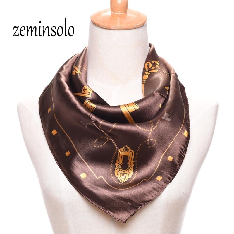 Nové dámské šátky značky saténové šátky přehoz 60 * 60cm výprodej saténový čtverec hedvábná šála potiskovaná samice Shawl Hijab
