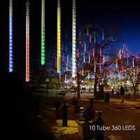 10 Tube 360 LEDs solaire météore douche pluie lumières extérieur étanche noël solaire chaîne lumière pour la décoration de fête de mariage