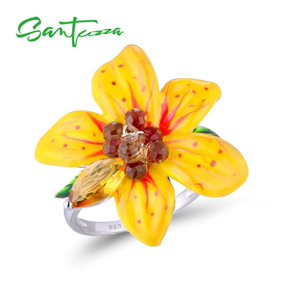 SANTUZZA Silver Ring For Women 925 Sterling Silver Dazzling Yellow Big Flower Fantastic Ring Party Chic Jewelry Enamel Handmade tomi fashion casual men s rounded bussines retro design leather band watch relogio masculino erkek kol saati watch men