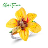 925 Sterling Silver Cuspidate Drop Smoky Glass Marquise Yellow Glass Yellow Enamel Flower Ring HANDMADE