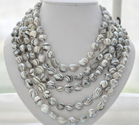 fast 100 14mm gray striae baroque freshwater pearl necklace AAA