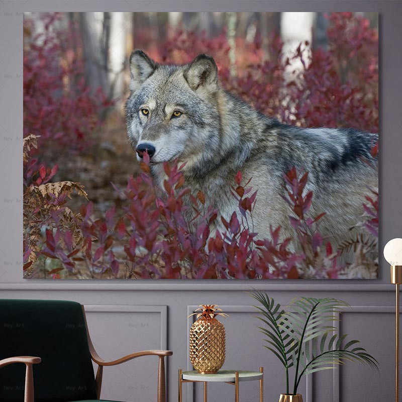 Animal Wall Art Poster and Prints Wolf in the grass Paintings on Canvas Decorative Pictures for Living Room Frameless Printing