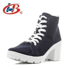 Купить с кэшбэком LIBANG Comfortable Woman High Heels Shoes New Platform Shoes Women 2017 High Canvas Shoes Thick Heels Wedg Womens Shoes Heels