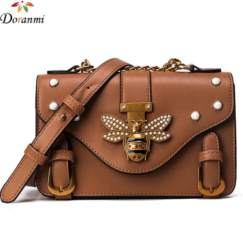 DORANMI Bee Pearl Flap Bags For Women 2018 Luxury Brand Designer Buckle Shoulder Bag Crossbody Square Leather Bolsos Mujer
