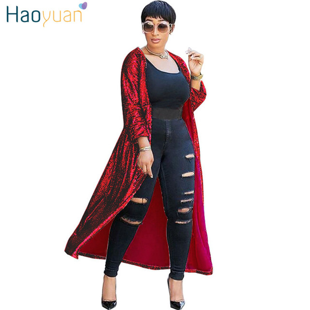 f7d4089dd9c HAOYUAN Red Gold Pink Cardigan Sequin Jacket Outwear Women Clothes Full  Sleeve Plus Size Open Stitch Elegant Autumn Long Coats