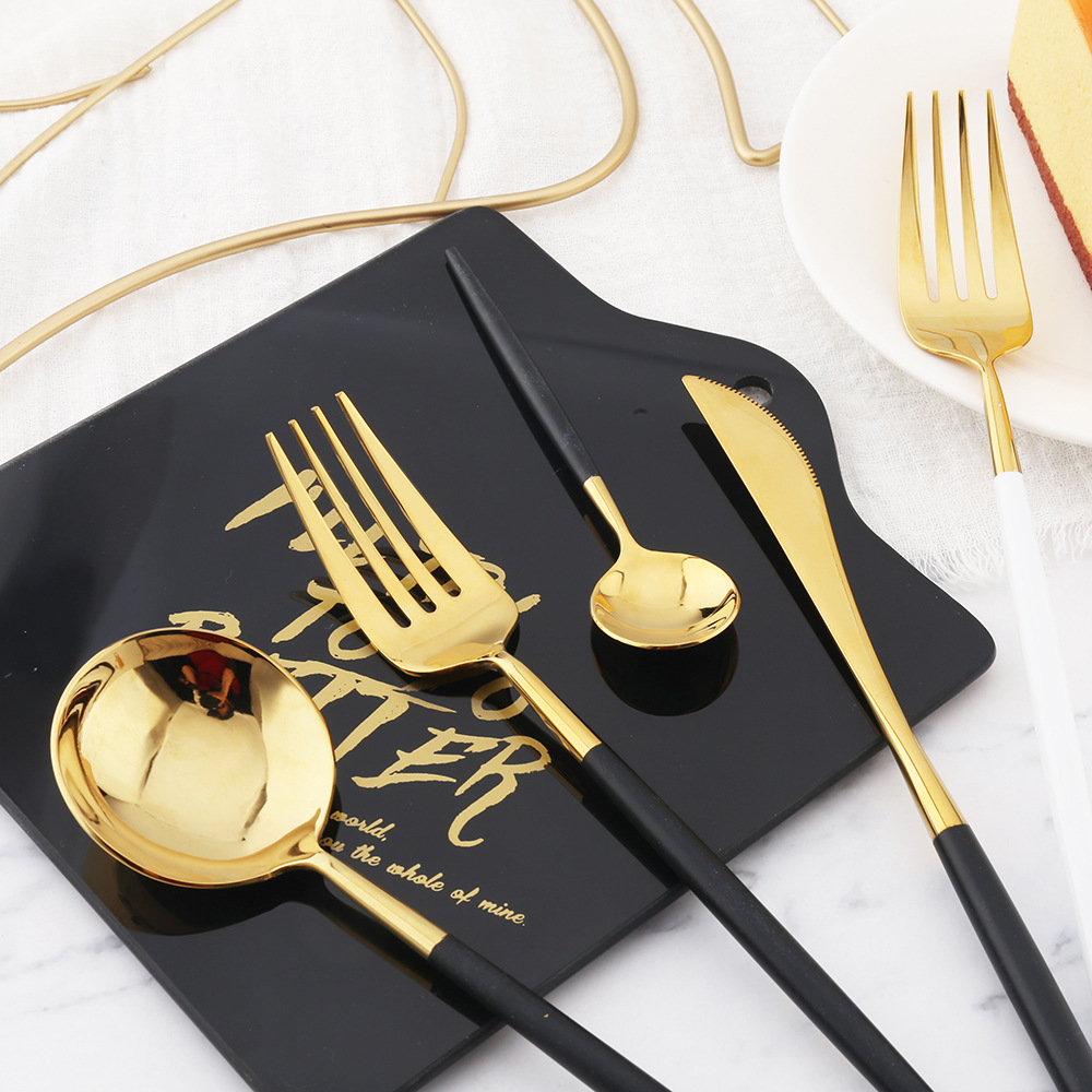 24 Pieces 18/10 Stainless Steel Shining Mirror Polishing Dinnerware Set Skype Blue Gold Silver Cutlery Tableware Set Drop Ship