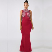 MUXU red sexy long dress fashion woman clothes patchwork Hot Brick Perspective Sexy dresses glitter vestidos verano party dress