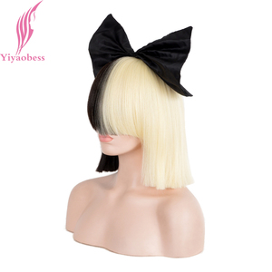 Image 2 - Yiyaobess 10 inç Sentetik Kısa ombre saç Kadın Düz SIA Peruk Cosplay Mix siyah ışık Altın Bob Peruk Için Parti