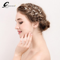 Gold Leaves Tiara Bridal Hair Clips Wedding Hair Accessories Women Headdress Pearl Jewelry Women Pearl Beads