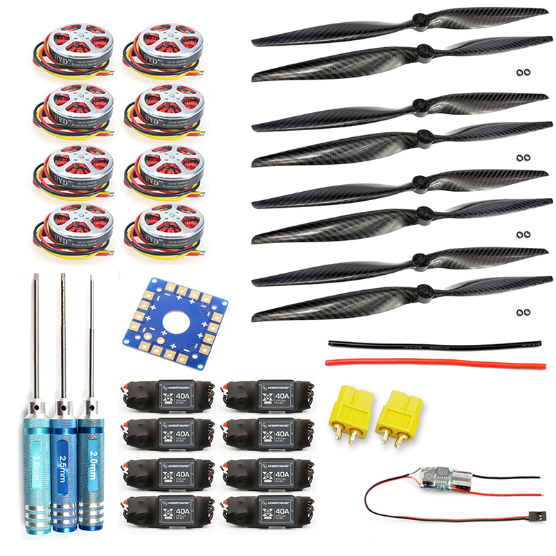F05423-E 8-Axis Foldable Rack RC Helicopter Kit KK Connection Board+350KV Brushless Disk Motor+15x4.0 Propeller+40A ESC 4set lot universal rc quadcopter part kit 1045 propeller 1pair hp 30a brushless esc a2212 1000kv outrunner brushless motor