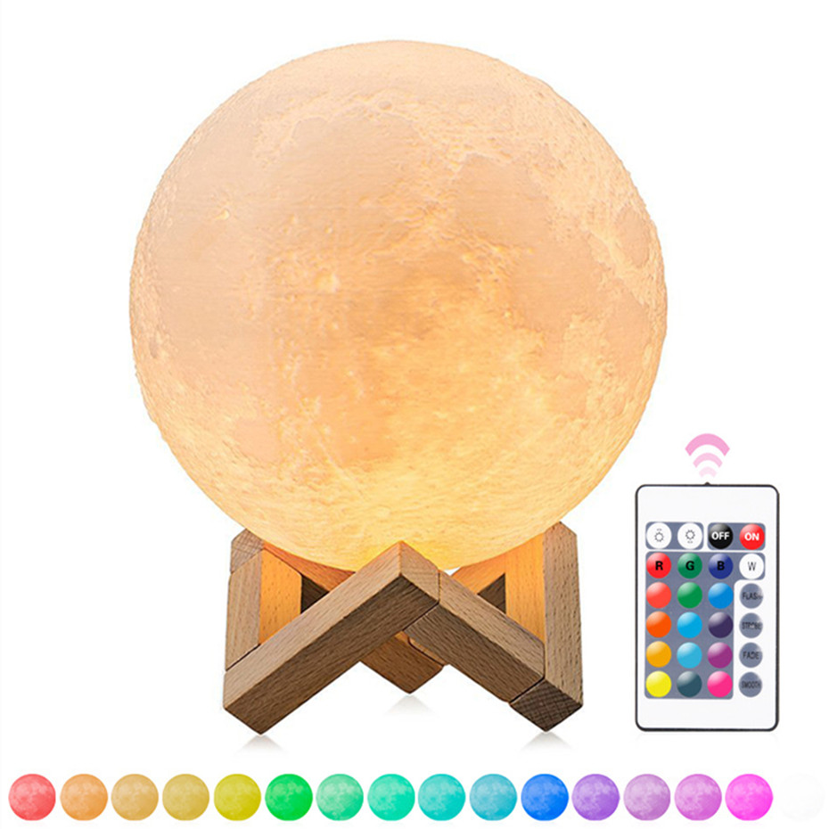 Rechargeable 3D Print Moon Lamp Dimmable Magical LED Luna Night Light USB Charging 2/16 Color Change Touch Control Home Decor
