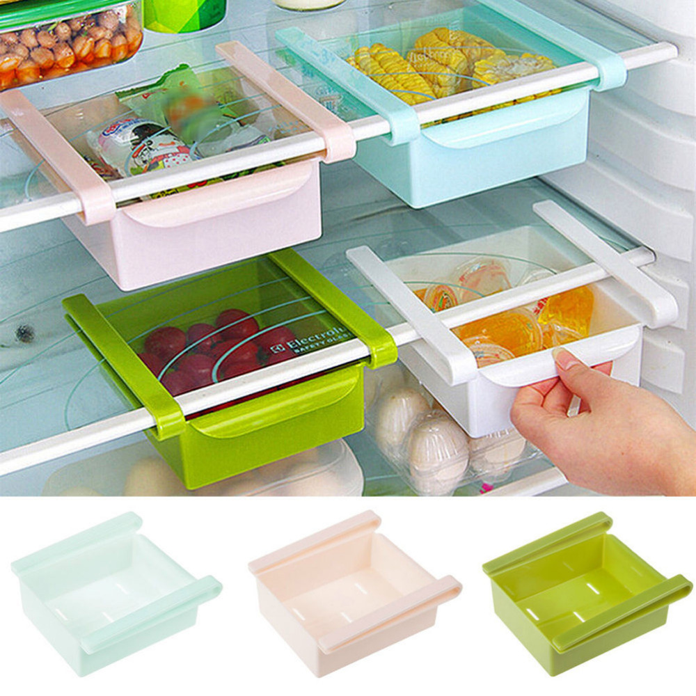 1Pcs Hot Sale Fridge Storage Rack With Layer Partition Refrigerator Plastic Storage Holder Pull-out Drawer Organizer 4 Colors
