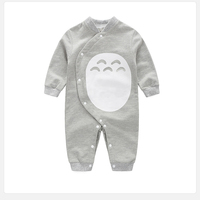 HOT Summer Baby Romper Totoro Infant Cotton Long Sleeve O Neck Cartoon Clothes Boys Girls One