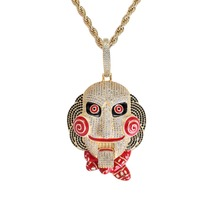 Big Version Statement Chunky Men's Iced Out CZ Stone 69 Saw Doll Head Mask Pendant Mouth Movable Rap Big Enamel Necklace Jewelry