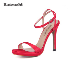 цена на Batzuzhi 2018 New Zapatos Mujer Women Shoes 12cm High Heels Sandal Women Candy Colors Red Sandalias Wedding Party, Big Size 43