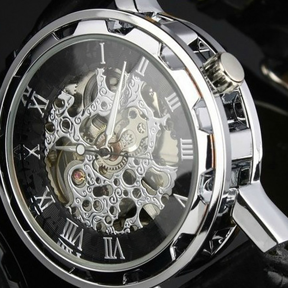 2017 Casual Leather Stainless Steel Mechanical Watch Skeleton Watches Men Luxury Brand Dress Wristwatches For Men