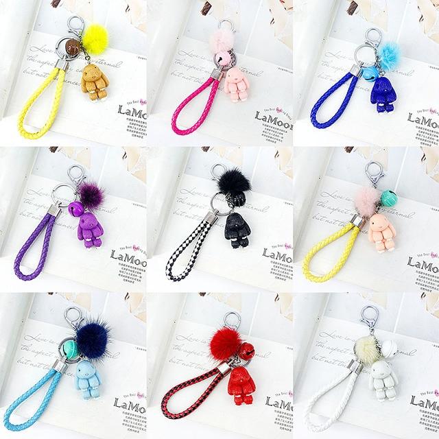 Rabbit Keychain Pokemon Fluffy Fur Ball Key Chains for Women Bags Pendant Decoration Pom Poms Keyring Fashion Kids Easter Gifts 4