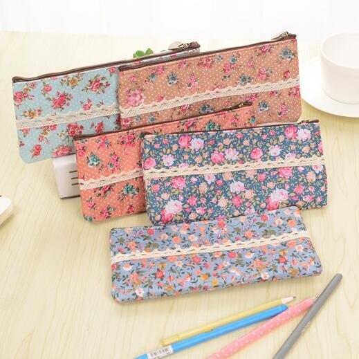 1pcs Vintage flower lace zipper pencil case felt pen bags Stationery Storage Organizer Cases School Supply Promotional Gift