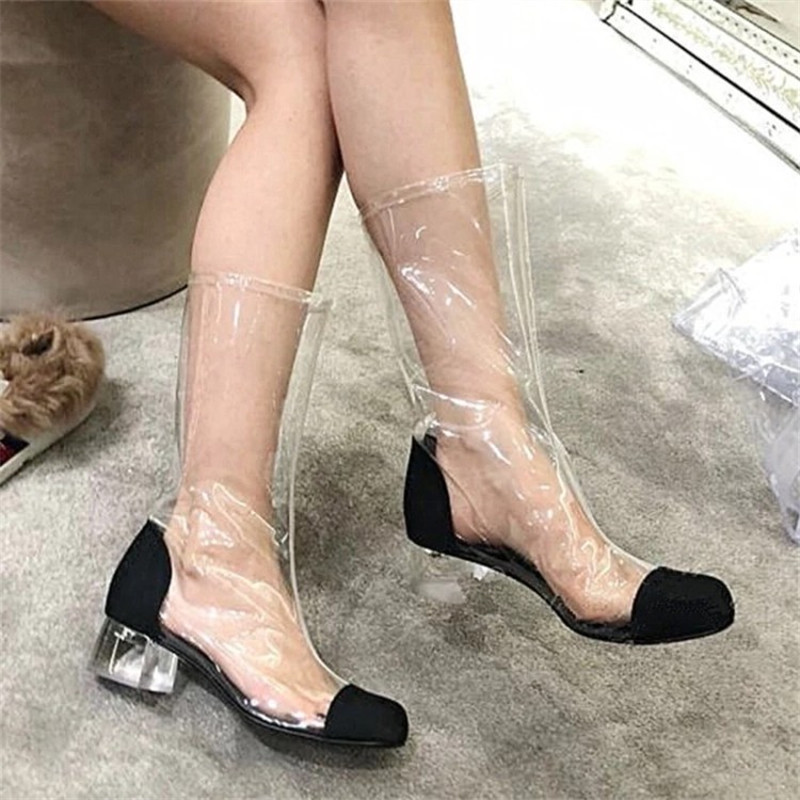 6e98f9e1b609 Boots Talons Sandales Genou Black D été Sexy Boots Moyen Boot Femme white  Pour 2018 Cheville ...