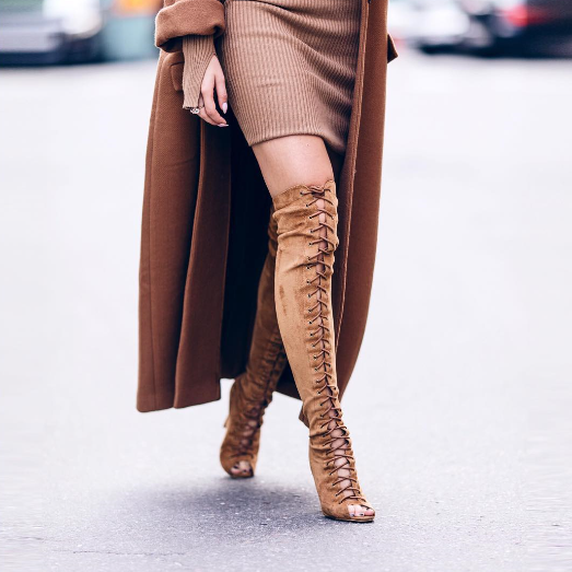 Thigh High Over the Knee Boots For Women Lace-Up Shoes Genuine Leather Sexy Fashion Peep Toes Stiletto High Heels Bottine Femme jialuowei women sexy fashion shoes lace up knee high thin high heel platform thigh high boots pointed stiletto zip leather boots