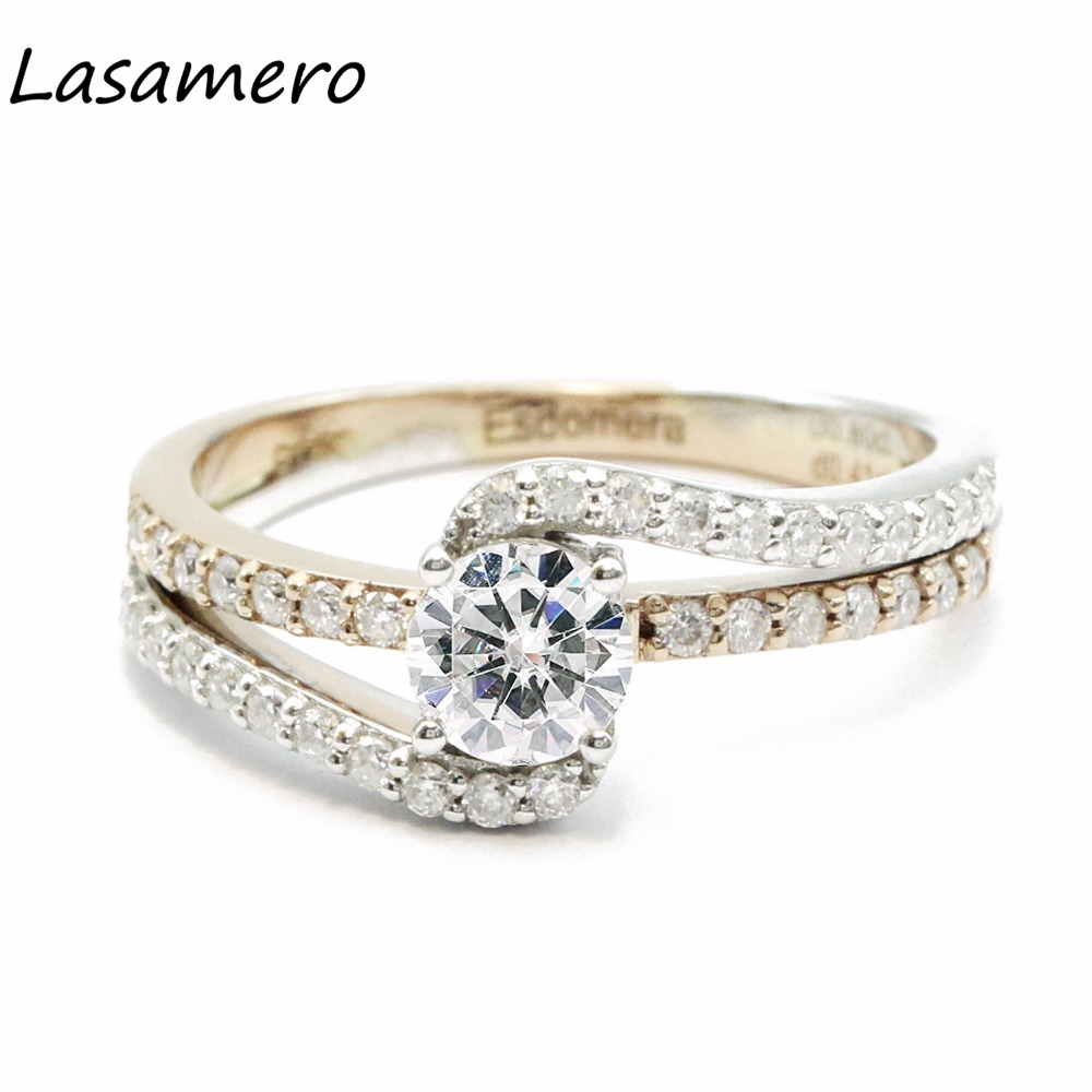 LASAMERO 5.5MM Luxury Round Cut Simulated Diamond Engagement Ring 925 Sterling Silver Accents Promise Wedding Ring