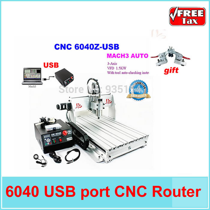 No tax to EU country!! CNC Router 6040 Z-USB 3 axis Mach3 auto, with USB port, tool auto-checking engraving machine russain no tax usb port 6040 cnc lathe machine 3 axis router wood cnc milling machine cutting 1 5kw