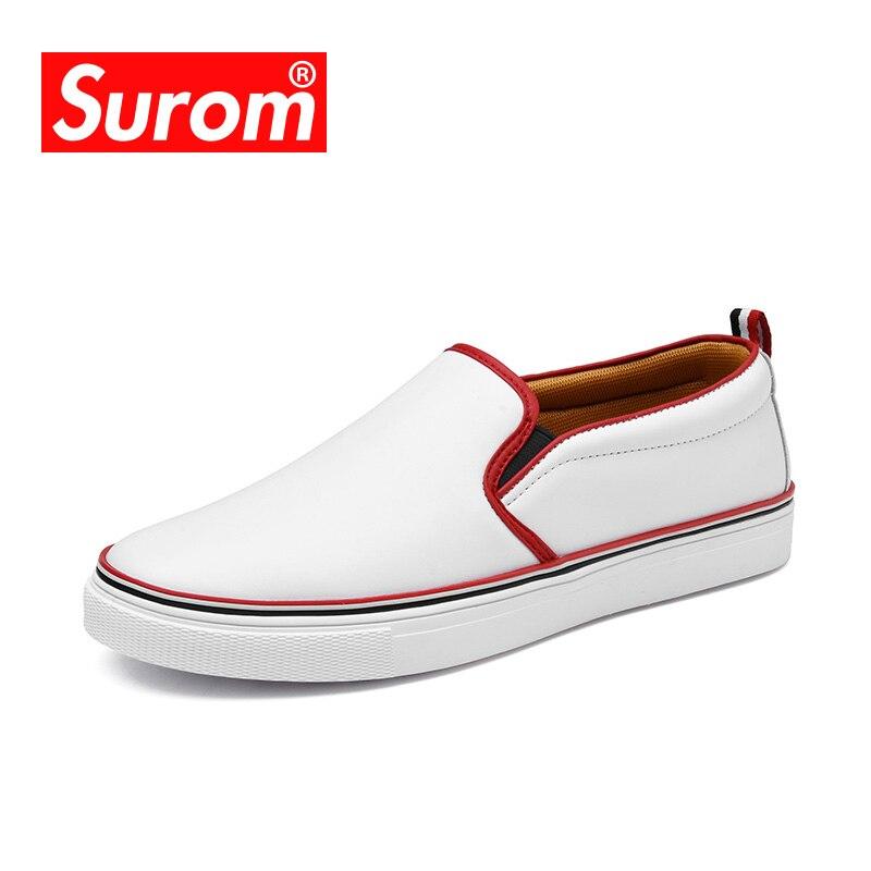 e519f0e792efa SUROM Mode Simple Hommes de Blanc Couleur Mocassins Split En Cuir Hommes  Ons de Marche Confortables Chaussures Plate-Forme Appartements Slip ons  Chaussures