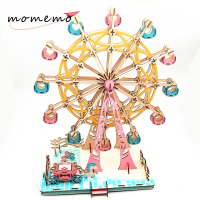 MOMEMO DIY Assembaly Wooden Puzzles Creative 3D Ferris Wheel Model Wooden Puzzle Kit Assembly Toy Gift for Children Teens Adult