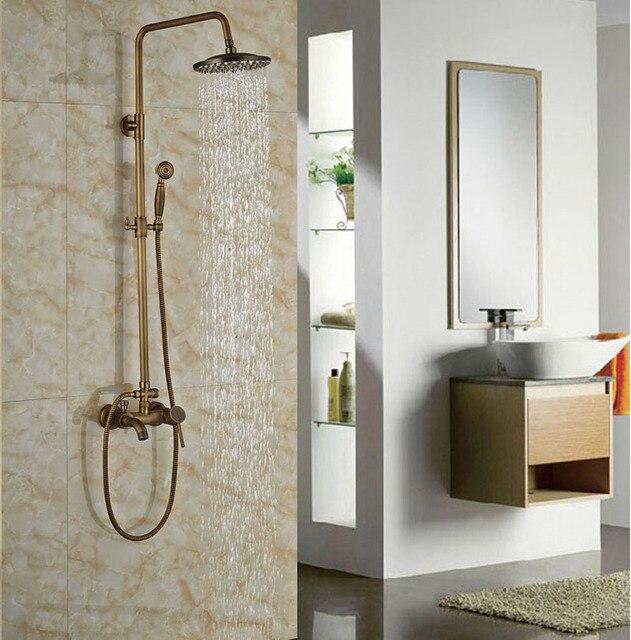 Antique Brass 8 in Rainfall Shower Set Bathroom Tub Units Single ...
