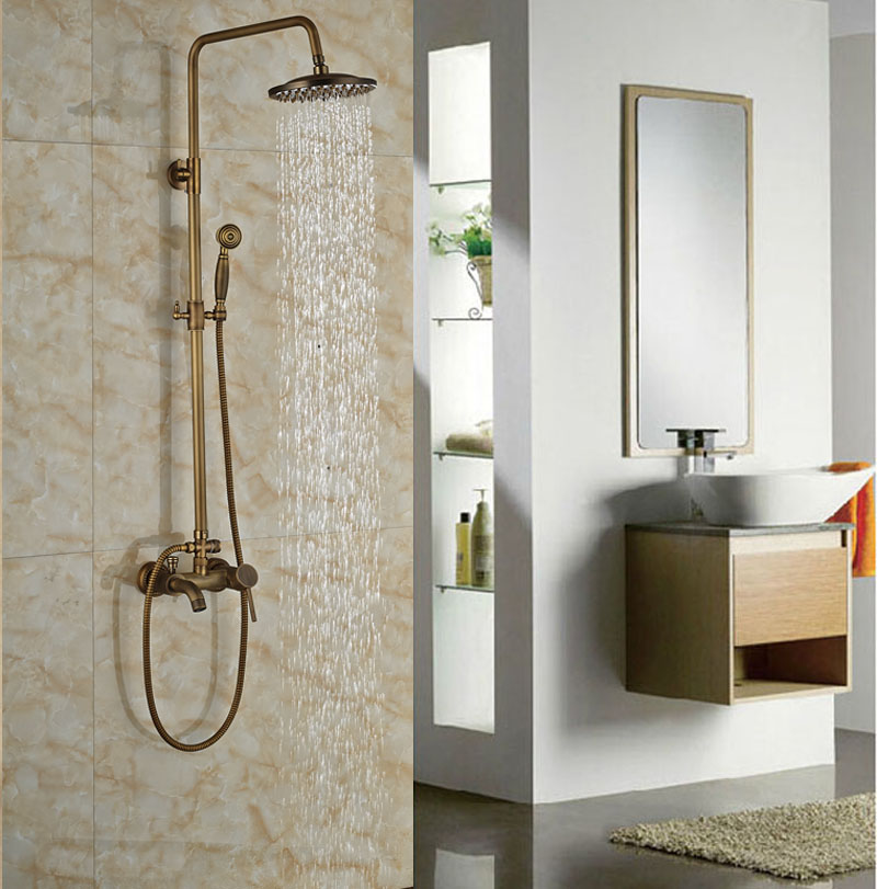 Antique Brass 8-in Rainfall Shower Set Bathroom Tub Units Single Lever Hot&Cold Faucet